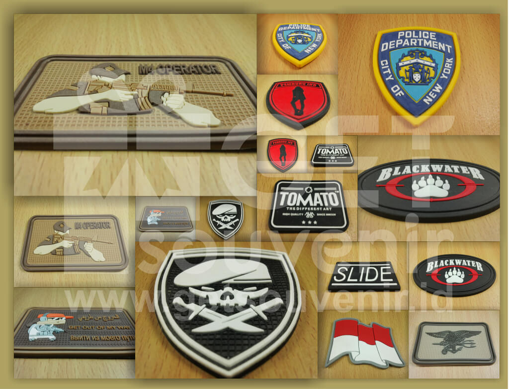 Bikin emblem label karet custom